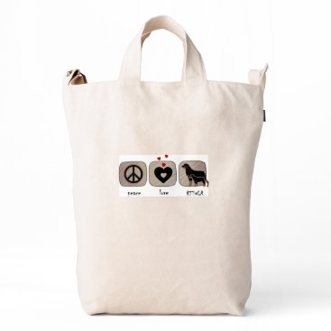 Beach Themed Peace Love Rottweiler Tote Duck Bag