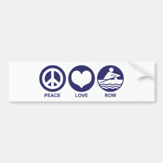 Peace Love Row Bumper Sticker