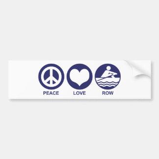 Peace Love Row Bumper Sticker