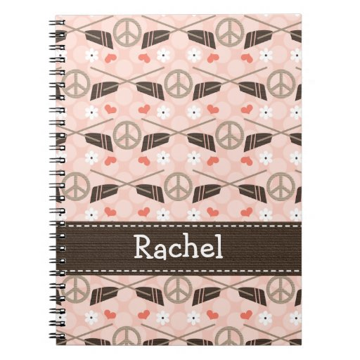 Peace Love Row Rowing Spiral Notebook Journal