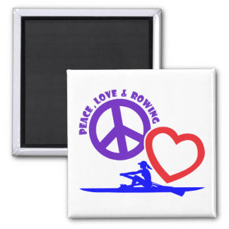 PEACE-LOVE-ROWING 2 INCH SQUARE MAGNET