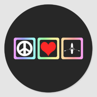 peace love rowing classic round sticker