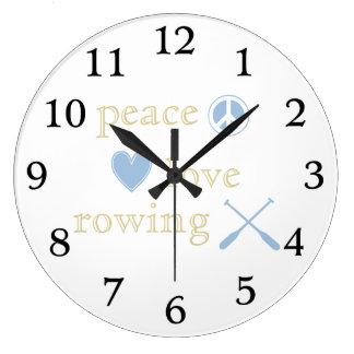 Peace Love Rowing Wall Clock