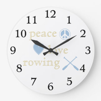 Peace Love Rowing Large Clock