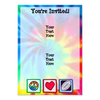 Peace, Love,  Rugby Football 5x7 Paper Invitation Card