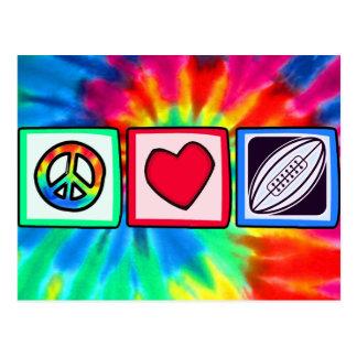 Peace, Love,  Rugby Football Postcard