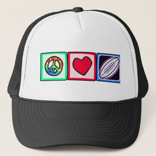 Peace, Love,  Rugby Football Trucker Hat