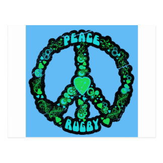 Peace love Rugby Postcard