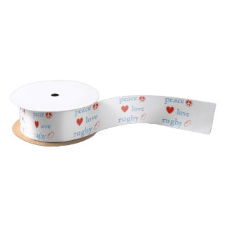 Peace Love Rugby Satin Ribbon