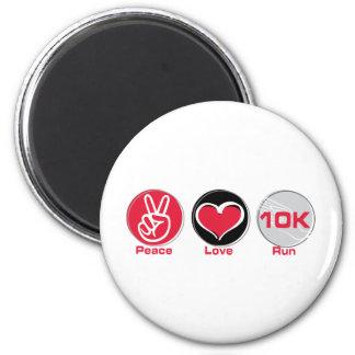 Peace Love Run 10K 2 Inch Round Magnet