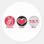 Peace Love Run 13.1 miles Classic Round Sticker