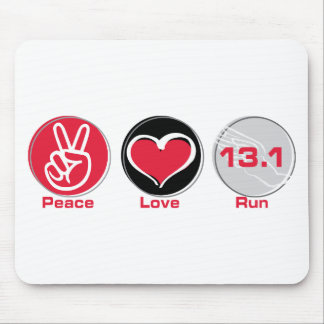 Peace Love Run 13.1 miles Mouse Pad