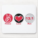 Peace Love Run 13.1 miles Mouse Pads
