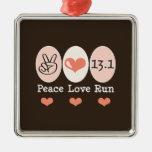 Peace Love Run 13.1 Silver Ornament