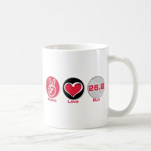 Peace Love Run 26.2 miles - Marathon Classic White Coffee Mug