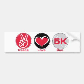 Peace Love Run 5K Car Bumper Sticker