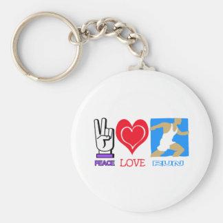 PEACE LOVE RUN BASIC ROUND BUTTON KEYCHAIN
