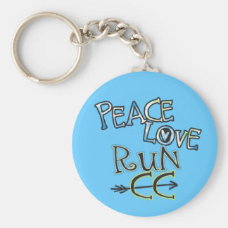 PEACE LOVE RUN CC - Cross Country Basic Round Button Keychain