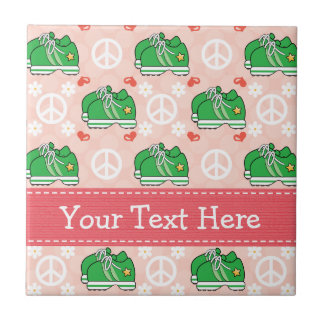 Peace Love Run Ceramic Tile Trivet