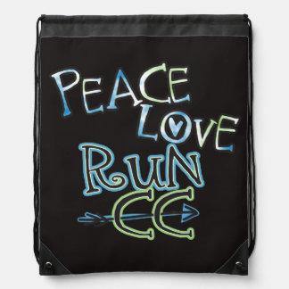 Peace Love Run Cross Country Drawstring Bag