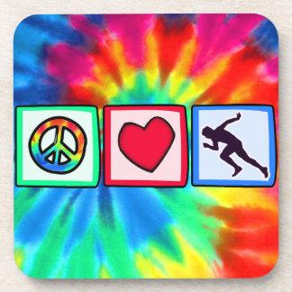 Peace, Love, Run Drink Coaster
