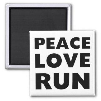 Peace Love Run 2 Inch Square Magnet