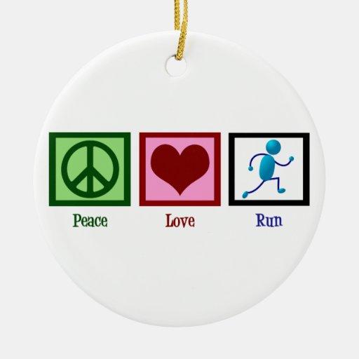 Peace Love Run Ornament