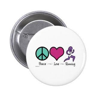 Peace Love Running 2 Inch Round Button