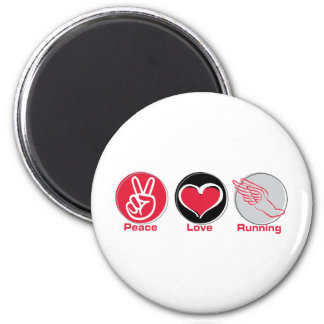 Peace Love Running 2 Inch Round Magnet