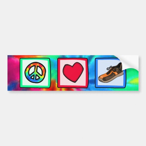 Peace, Love, Running Car Bumper Sticker