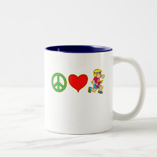 Peace Love Running Cute Runners Products Two-Tone Coffee Mug