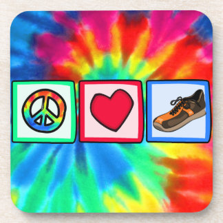 Peace, Love, Running Drink Coaster