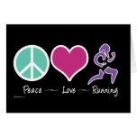 Peace Love Running Greeting Card