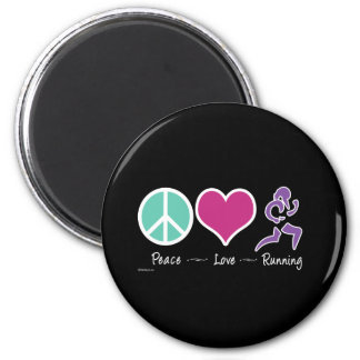 Peace Love Running Magnet