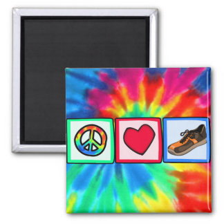 Peace, Love, Running 2 Inch Square Magnet