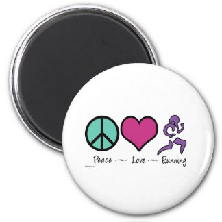 Peace Love Running Magnet