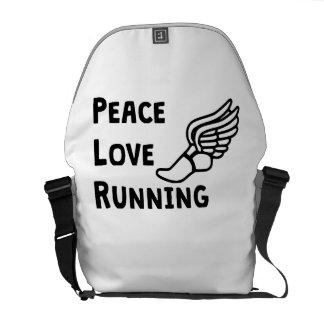 Peace Love Running Messenger Bags