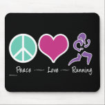 """Peace Love Running Mouse Pad<br><div class=""""desc"""">In life there&#39;s only really three things that matter: Peace,  Love,  and Running!</div>"""