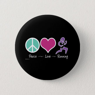 Peace Love Running Pinback Button