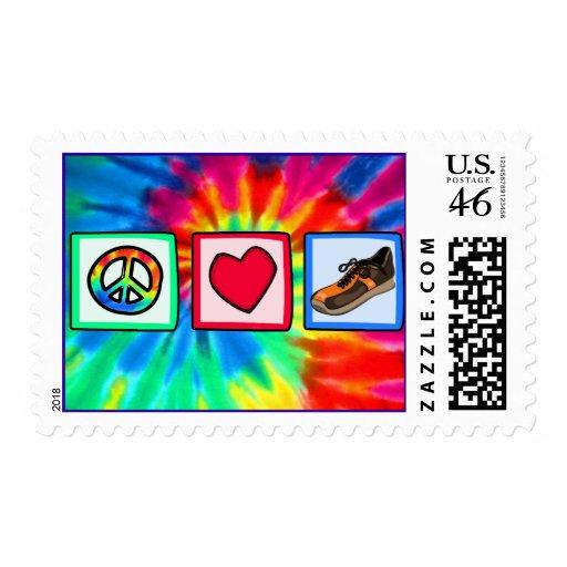 Peace, Love, Running Stamp