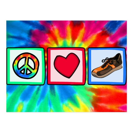 Peace, Love, Running Postcard