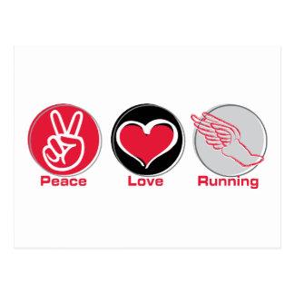 Peace Love Running Postcard