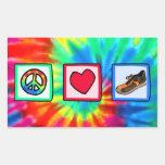 Peace, Love, Running Rectangular Sticker