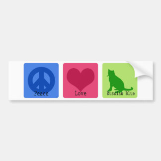 Peace Love Russian Blue Bumper Sticker