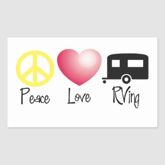 Peace, Love, RVing Rectangular Sticker