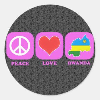 Peace Love Rwanda Classic Round Sticker