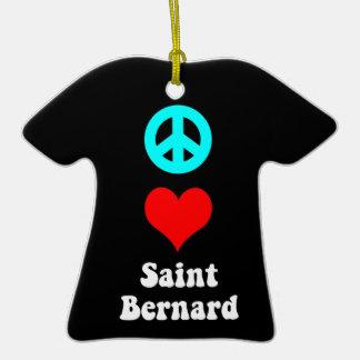 peace love saint bernard christmas tree ornament