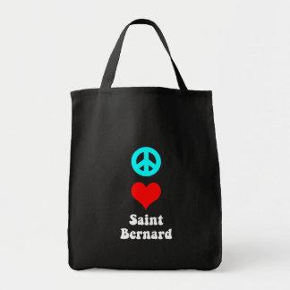 Peace love Saint Bernard Tote Bags