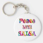 Peace Love Salsa Basic Round Button Keychain
