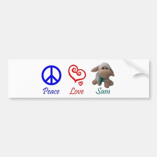 Peace, Love, Sam the Sheep Car Bumper Sticker